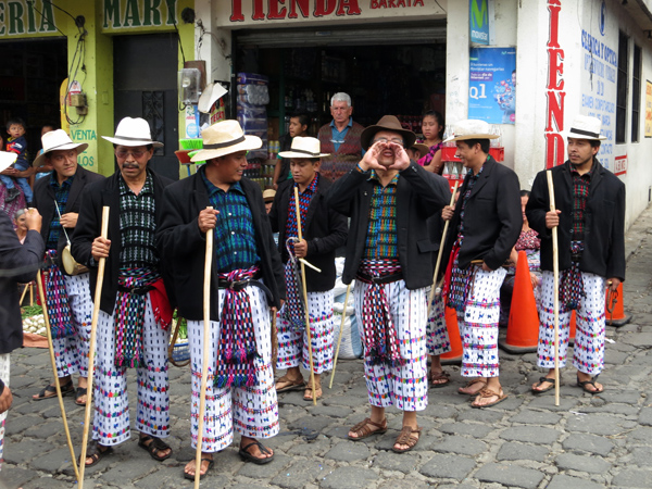 Traditional men's textiles during parade
