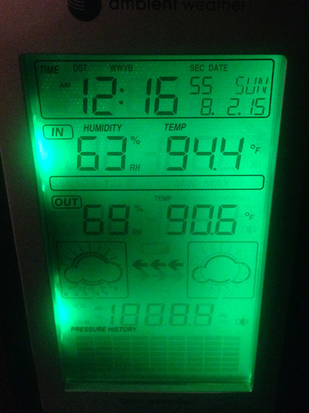 94 degrees inside the boat at midnight!