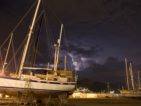 Some serious storms shook the boat while we were on the hard